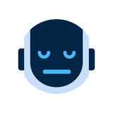 Robot Face Icon Sad Face Dissappointed Emotion Robotic Emoji. Vector Illustration Stock Photography