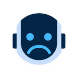 Robot Face Icon Sad Face Dissappointed Emotion Robotic Emoji. Vector Illustration Royalty Free Stock Images