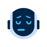 Robot Face Icon Sad Face Dissappointed Emotion Robotic Emoji. Vector Illustration Stock Images