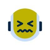 Robot Face Icon Sad Face Sick Emotion Robotic Emoji. Vector Illustration Stock Images