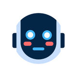 Robot Face Icon Shocked Blushed Face Emotion Robotic Emoji. Vector Illustration Royalty Free Stock Photography
