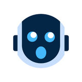 Robot Face Icon Shocked Face Emotion Robotic Emoji. Vector Illustration Royalty Free Stock Photos