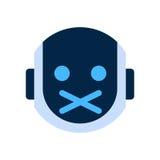 Robot Face Icon Silent Shocked Face Emotion Robotic Emoji. Vector Illustration Stock Image