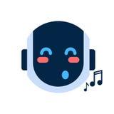 Robot Face Icon Singing Smiling Face Emotion Robotic Emoji. Vector Illustration Royalty Free Stock Photography