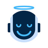 Robot Face Icon Smiling Angel Face Emotion Robotic Emoji Stock Image