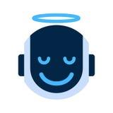 Robot Face Icon Smiling Angel Face Emotion Robotic Emoji. Vector Illustration Stock Image