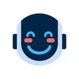 Robot Face Icon Smiling Blushed Face Emotion Robotic Emoji. Vector Illustration Royalty Free Stock Photo