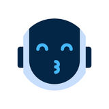 Robot Face Icon Smiling Face Blow Kiss Emotion Robotic Emoji. Vector Illustration Stock Photography