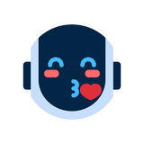 Robot Face Icon Smiling Face Blowing Kiss Emotion Robotic Emoji. Vector Illustration Royalty Free Stock Images