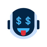 Robot Face Icon Smiling Face With Dollar Sign Emotion Robotic Emoji Stock Image