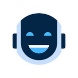 Robot Face Icon Smiling Face Laugh Emotion Robotic Emoji. Vector Illustration Royalty Free Stock Photography