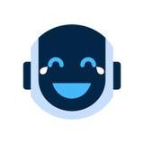 Robot Face Icon Smiling Face Laugh Emotion Robotic Emoji. Vector Illustration Royalty Free Stock Photo