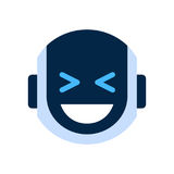Robot Face Icon Smiling Face Laugh Emotion Robotic Emoji. Vector Illustration Stock Photography