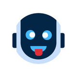 Robot Face Icon Smiling Face Showing Tongue Emotion Robotic Emoji. Vector Illustration Stock Images