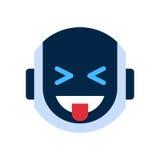 Robot Face Icon Smiling Face Showing Tongue Emotion Robotic Emoji. Vector Illustration Royalty Free Stock Photo