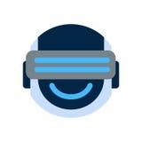 Robot Face Icon Smiling Face Wearing Digital Glasses Emotion Robotic Emoji. Vector Illustration Stock Photo