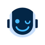 Robot Face Icon Smiling Face Wink Emotion Robotic Emoji Stock Photo