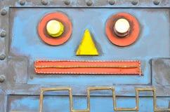 Robot face. Metal mix to robot face stock images