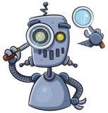 Robot facendo uso della lente Immagini Stock Libere da Diritti