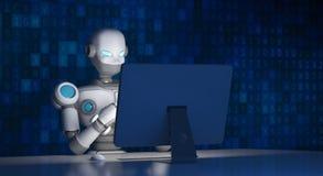 Robot facendo uso di un computer con il codice di dati, intelligenza artificiale illustrazione di stock