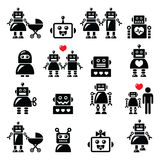 Robot family, female, baby robot icons set Royalty Free Stock Photos