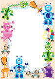Robot Family Play Frame_eps. Illustration of robot family playing together frame on white background Stock Photo