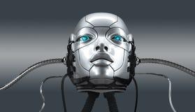 Robot female face closeup portrait, 3d render stock photo