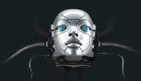 Robot female face closeup portrait, 3d render stock image