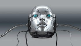 Robot female face closeup portrait, 3d render royalty free stock image