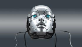 Robot female face closeup portrait, 3d render royalty free stock photos