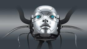 Robot female face closeup portrait, 3d render royalty free stock images