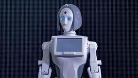Robot femelle blanc demandant à venir plus étroitement