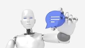 Robot femelle de Chatbot tenant un symbole de bulle de la parole illustration de vecteur