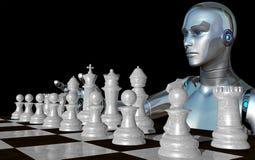 Robot femelle jouant avec les pièces d'échecs blanches illustration de vecteur