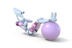 Robot femenino que hace a Sit Ups con la bola del ejercicio Foto de archivo