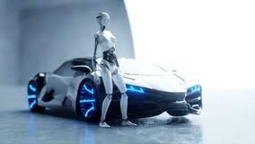 Robot femminile di umanoide futuristico ed automobile di fi di sci Moto e riflessioni realistici Concetto di futuro metraggio 4k illustrazione vettoriale