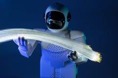 Robot and fiber optic Royalty Free Stock Photo