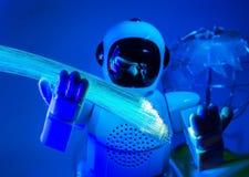 Robot and fiber optic Stock Photography