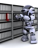 Robot filing documents. 3D Render of robot filing documents Stock Photos