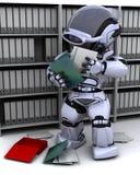 Robot filing documents. 3D Render of robot filing documents vector illustration