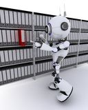 Robot filing documents Royalty Free Stock Photo