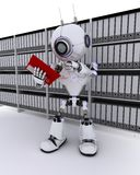 Robot filing documents Royalty Free Stock Photography