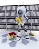 Robot filing documents Stock Photos