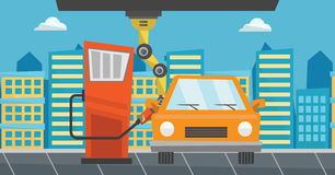 Robot filling up fuel into car at the gas station. Robotic arm filling up fuel into the car at the gas station. Robotic arm refueling a car at the gas station Stock Image