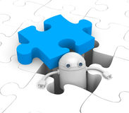 Robot find the necessary puzzle Stock Photos