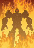 Robot on Fire. Giant robot in flames with copy space Stock Photos