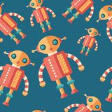 Robot firefighter flat icon seamless pattern. Colorful detailed and realistic flat design style icon seamless pattern Royalty Free Stock Photo