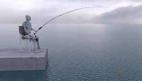 The robot is fishing with a fishing rod at sea. Future concept with robotics and artificial intelligence. 3D rendering