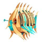 Robot-fisk med spakar stock illustrationer