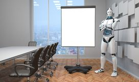 Robot Flip Chart Conference Room vektor illustrationer